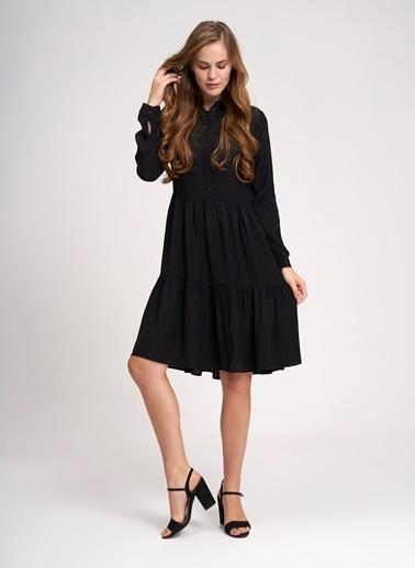 Mizalle Uzun Kollu Pileli Gömlek Elbise Siyah